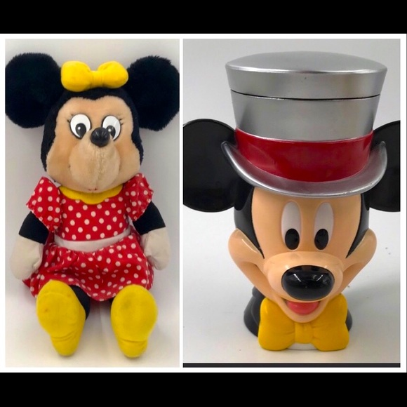Disney Mickey Mouse Cup and Minnie Mouse Stuffed Animal